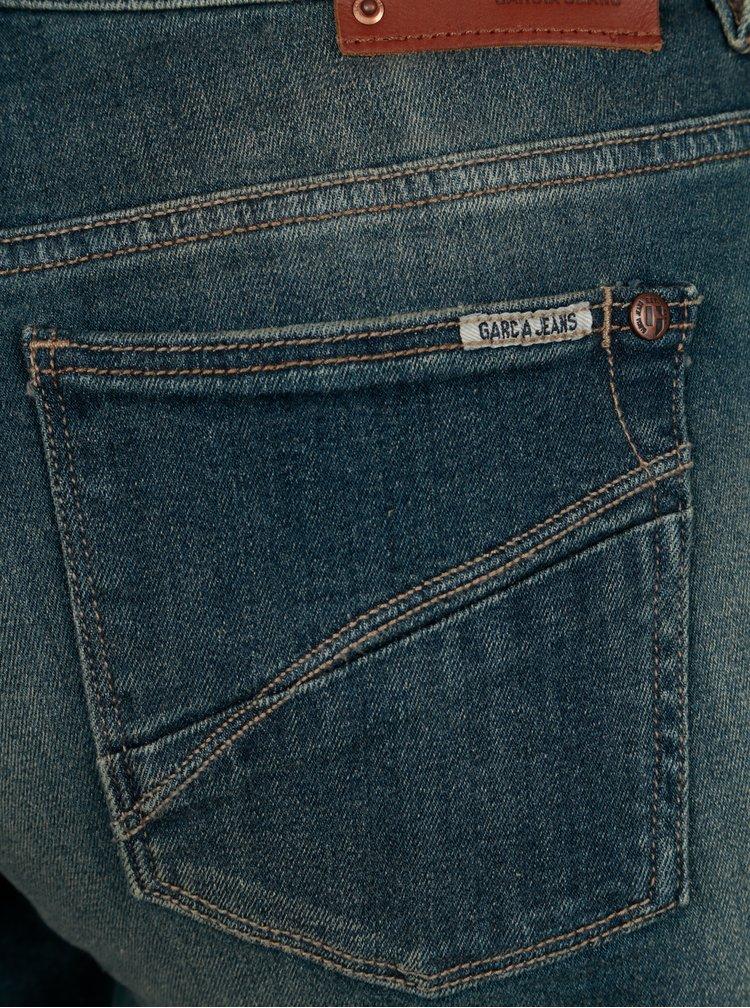 Modré dámské slim fit džíny s opraným efektem Garcia Jeans