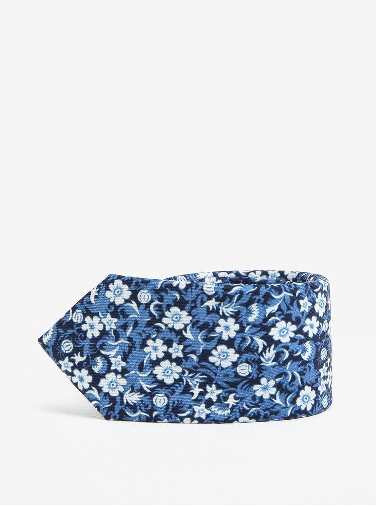 Tmavě modrá květovaná slim kravata Jack & Jones Premium Crussel