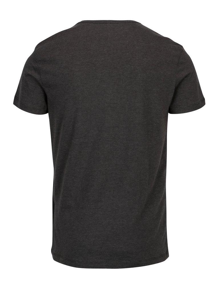 Tmavě šedé žíhané slim fit tričko s potiskem Blend