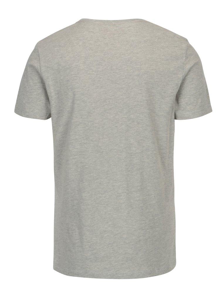 Šedé žíhané slim fit tričko s potiskem Blend
