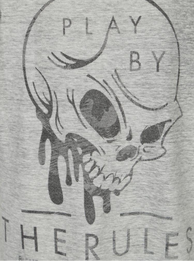 Tricou gri melanj cu mesaj - Blend