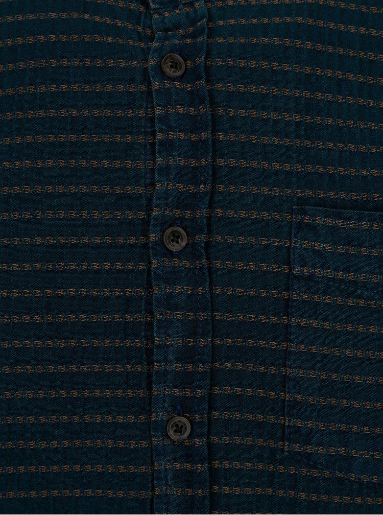 Tmavě modrá pruhovaná regular fit košile Blend