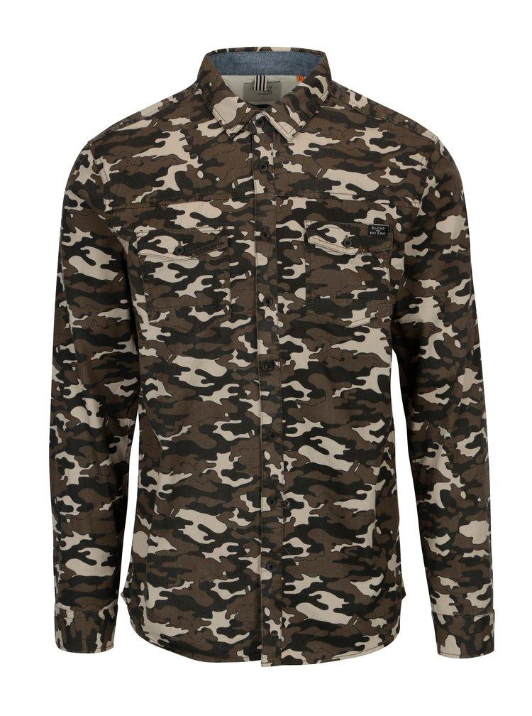 Kaki slim fit košeľa s maskáčovým vzorom Blend