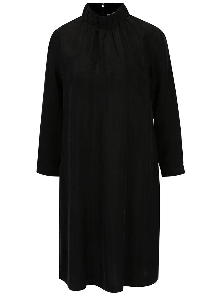 Černé šaty s dlouhým rukávem a stojáčkem Selected Femme Gracy