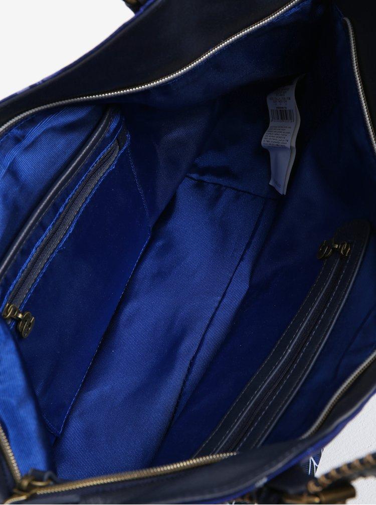 Tmavě modrá vzorovaná kabelka s flitry Desigual Rotterdam