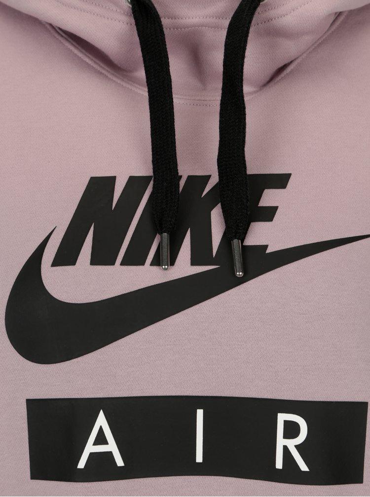 Světle fialová dámská dlouhá mikina s kapucí Nike