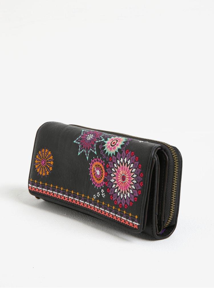 Tmavě hnědá peněženka s výšivkou Desigual Amelie