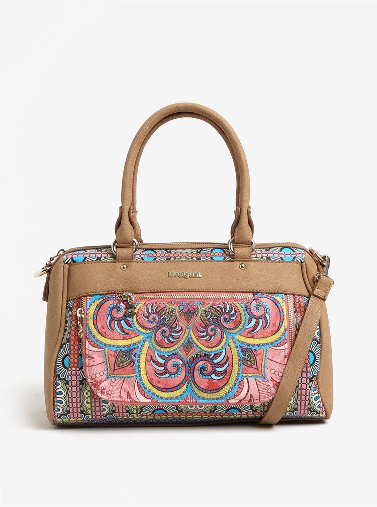 Béžová vzorovaná kabelka Desigual Vinland