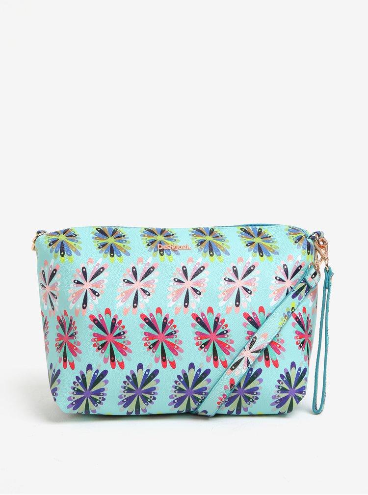 Černo-mentolový oboustranný shopper s kabelkou 2v1 Desigual Capri