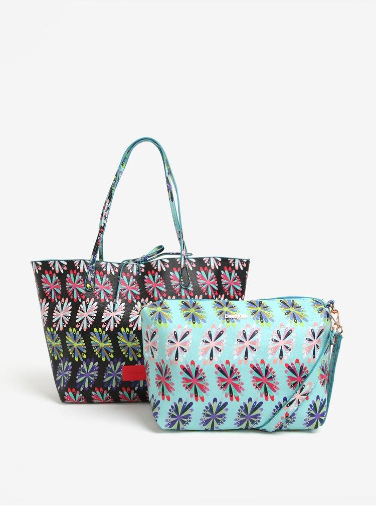 Geanta shopper cu geanta crossbody reversibila cu print floral Desigual Capri