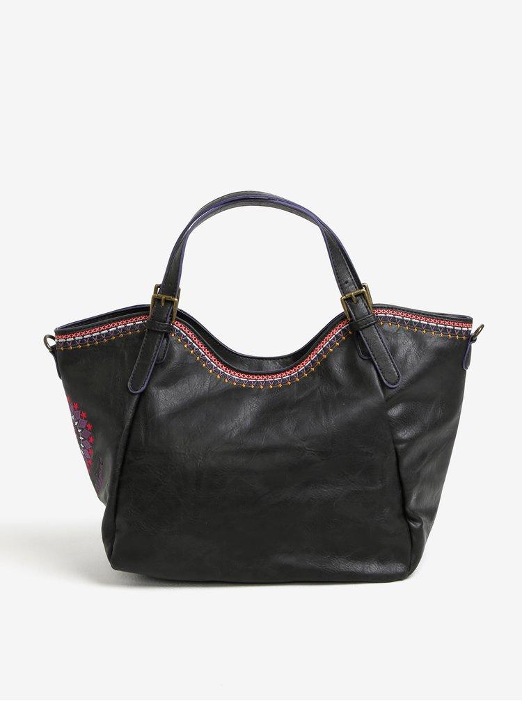 Tmavě hnědá kabelka s výšivkami Desigual Amelie
