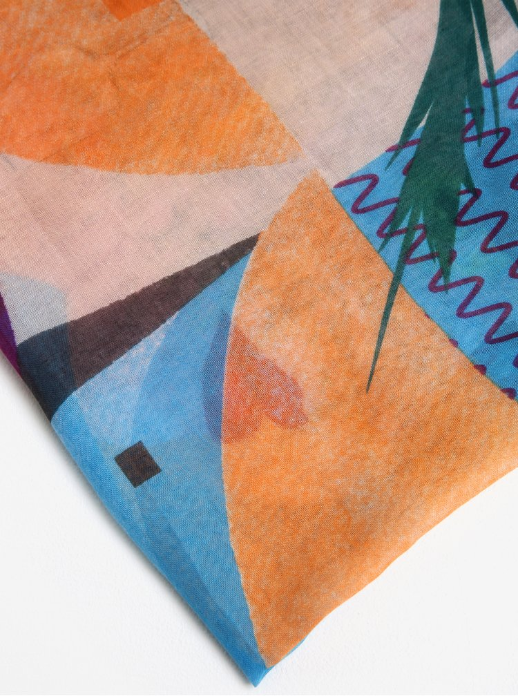 Růžovo-modrý šátek s květinami Desigual Crhystal