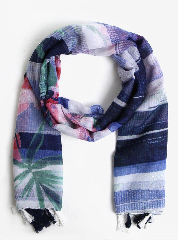 Bílo-modrý vzorovaný šátek se střapci Desigual Gardenette