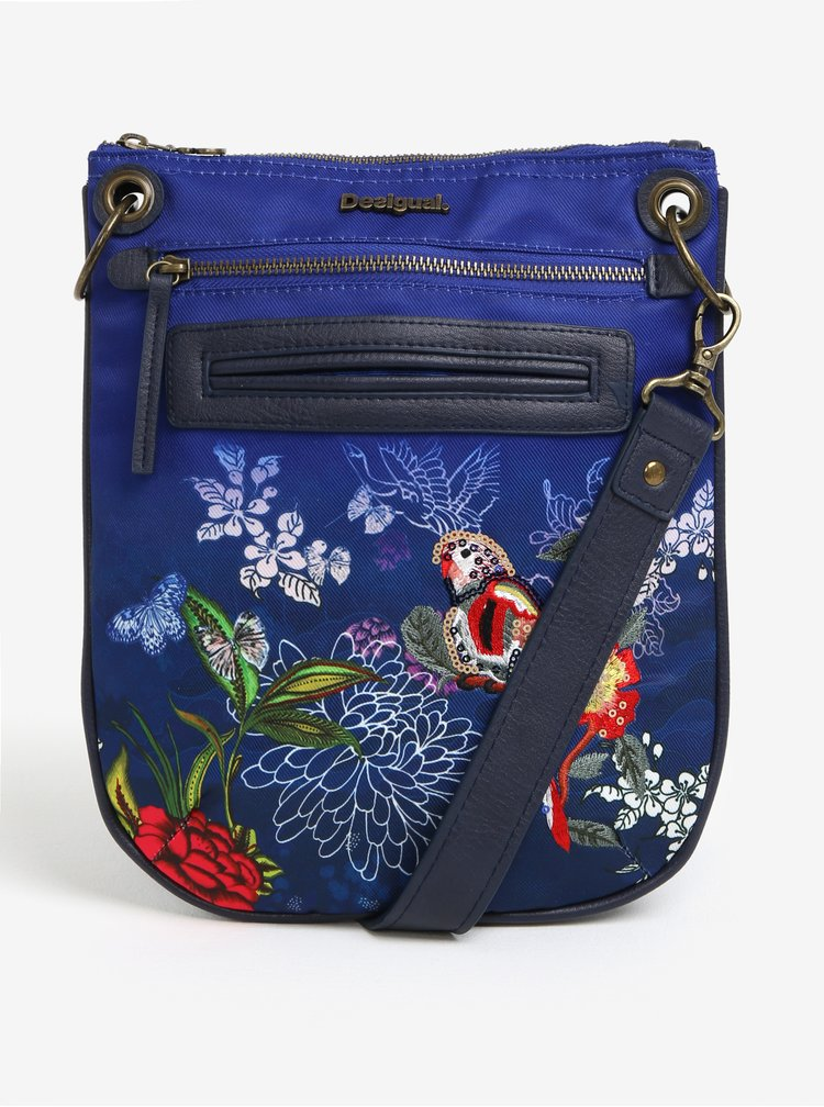 Modrá crossbody kabelka s výšivkou papouška Desigual Bandolera