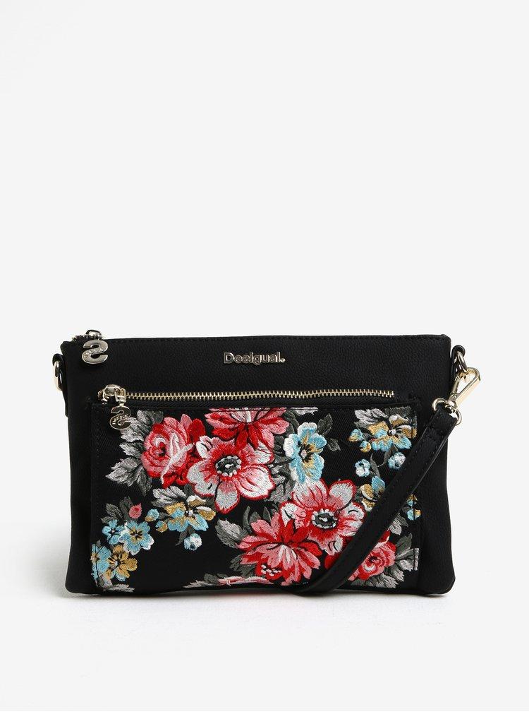 Černá crossbody kabelka s květinovou výšivkou Desigual Terranova