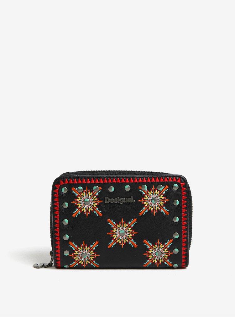 Černá peněženka s barevnými vyšitými ornamenty Desigual Sandy