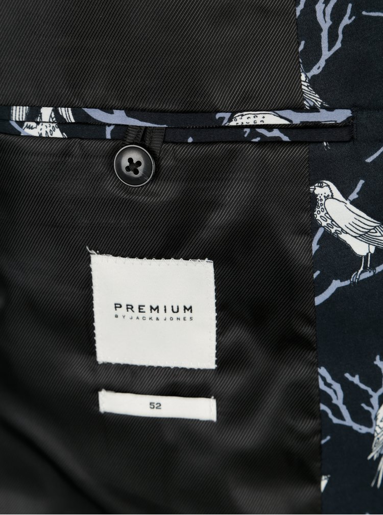 Tmavě modré vzorované sako Jack & Jones Premium Ace