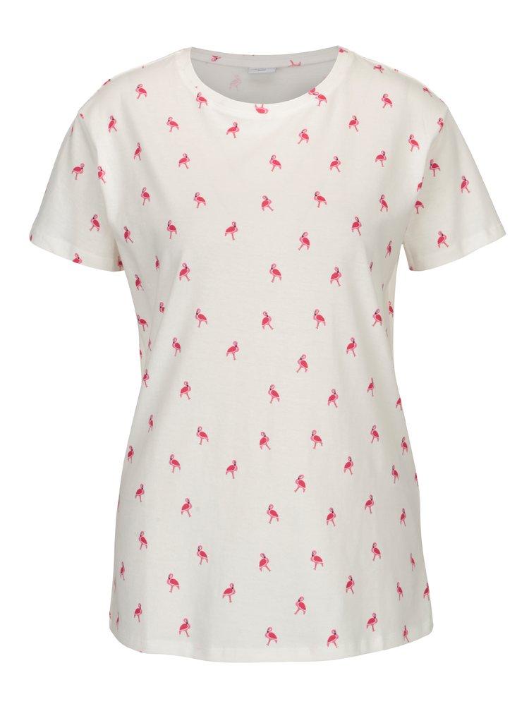 Krémové tričko s potiskem plameňáků Jacqueline de Yong Perfect