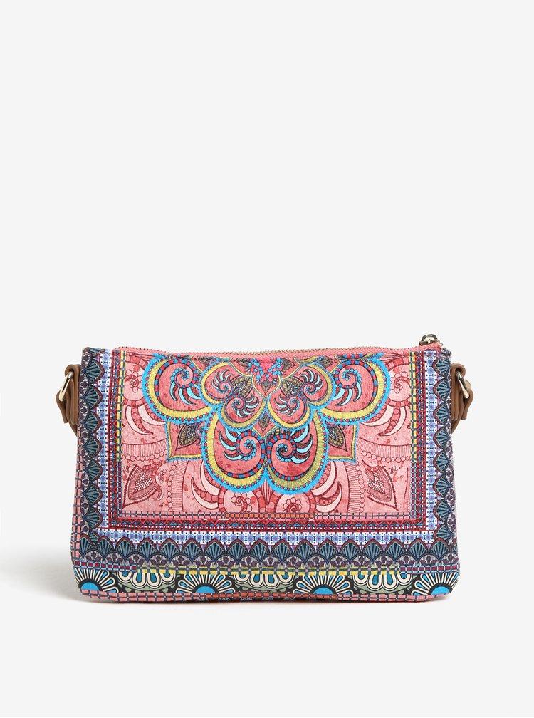 Modro-růžová vzorovaná crossbody kabelka Desigual Vinland