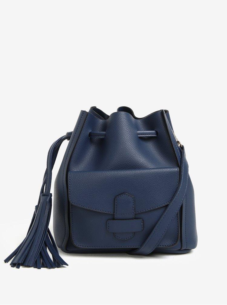 Tmavě modrá vaková kabelka s třásněmi Dorothy Perkins