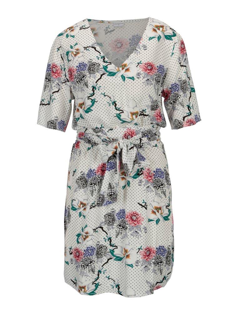Bílé květované šaty s véčkovým výstřihem Jacqueline de Yong Ann