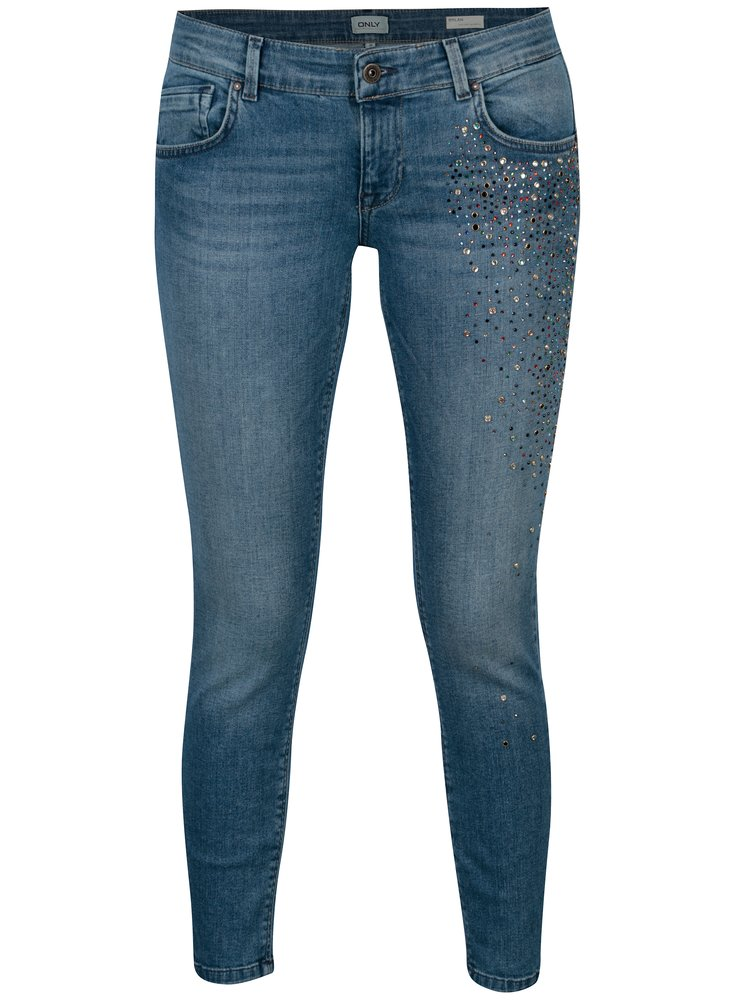 Modré džíny s ozdobnými kamínky ONLY Dylan