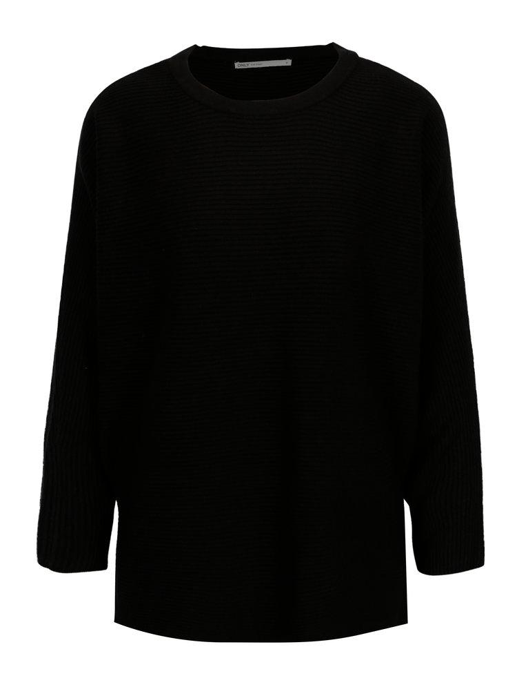 Černý žebrovaný svetr s netopýřími rukávy ONLY Siff