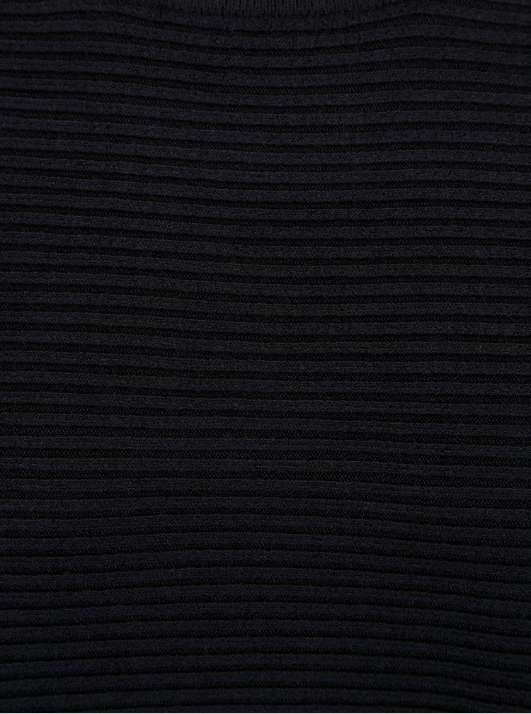 Tmavě modrý žebrovaný svetr s netopýřími rukávy ONLY Siff