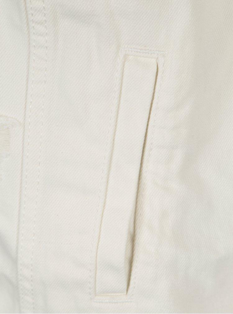 Krémová džínová bunda s potrhaným efektem ONLY Eva