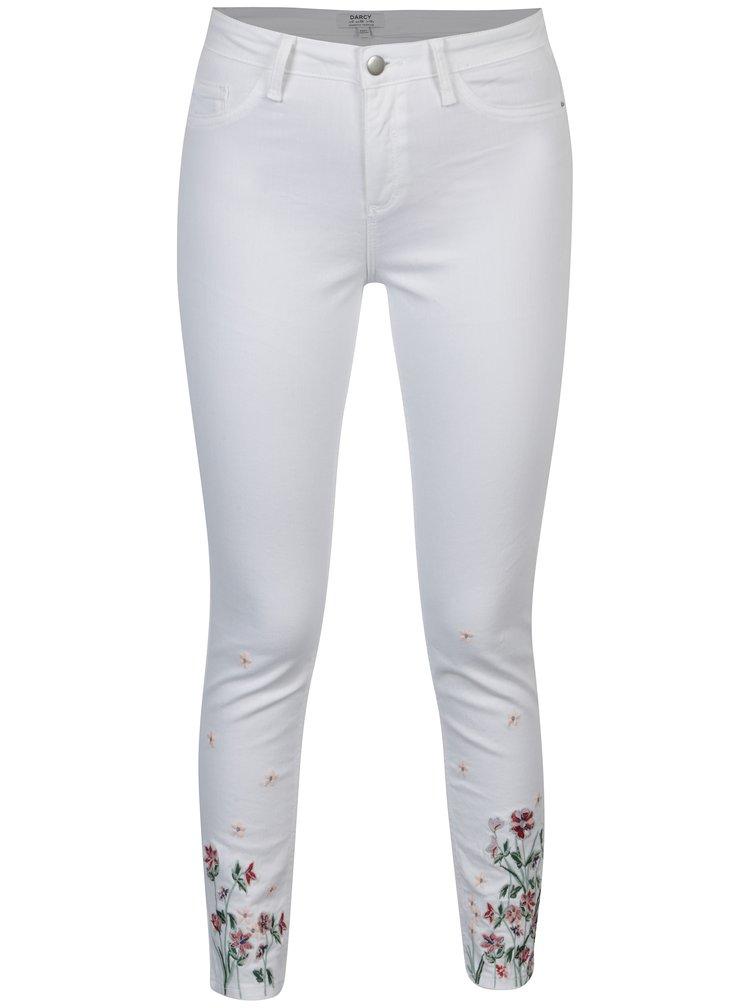 Bílé skinny džíny s výšivkou Dorothy Perkins Darcy