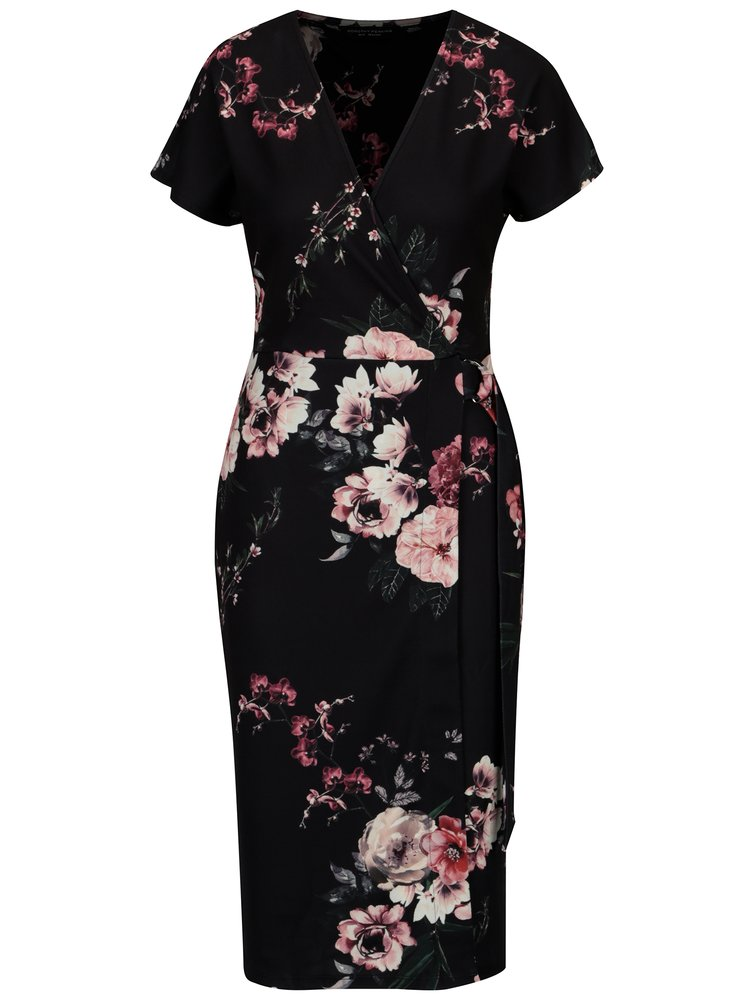 Černé květované šaty s překládaným výstřihem Dorothy Perkins
