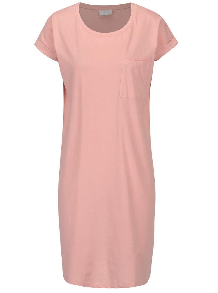 Světle růžové volné šaty VILA Dreamers
