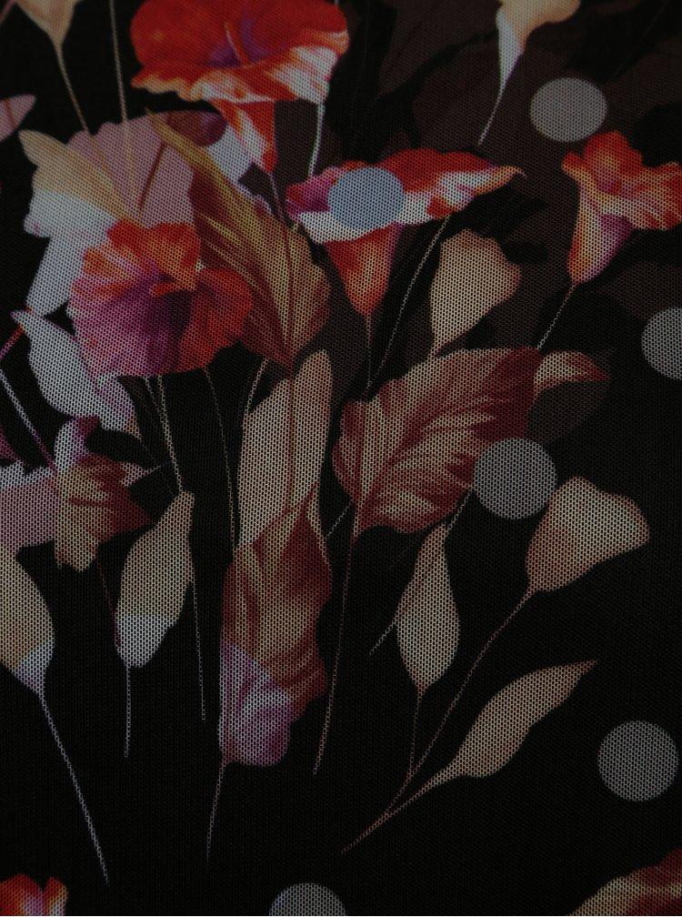 Černá květovaná halenka s volány VILA Roba