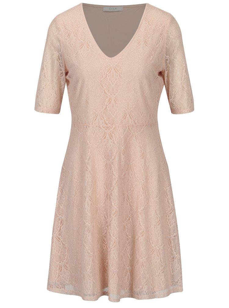Světle růžové krajkové šaty VILA Frej