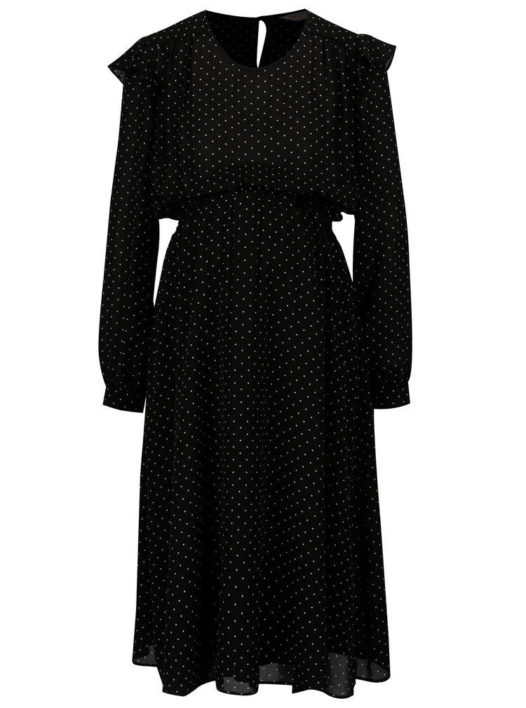 Černé puntíkované těhotenské šaty s volány Dorothy Perkins Maternity