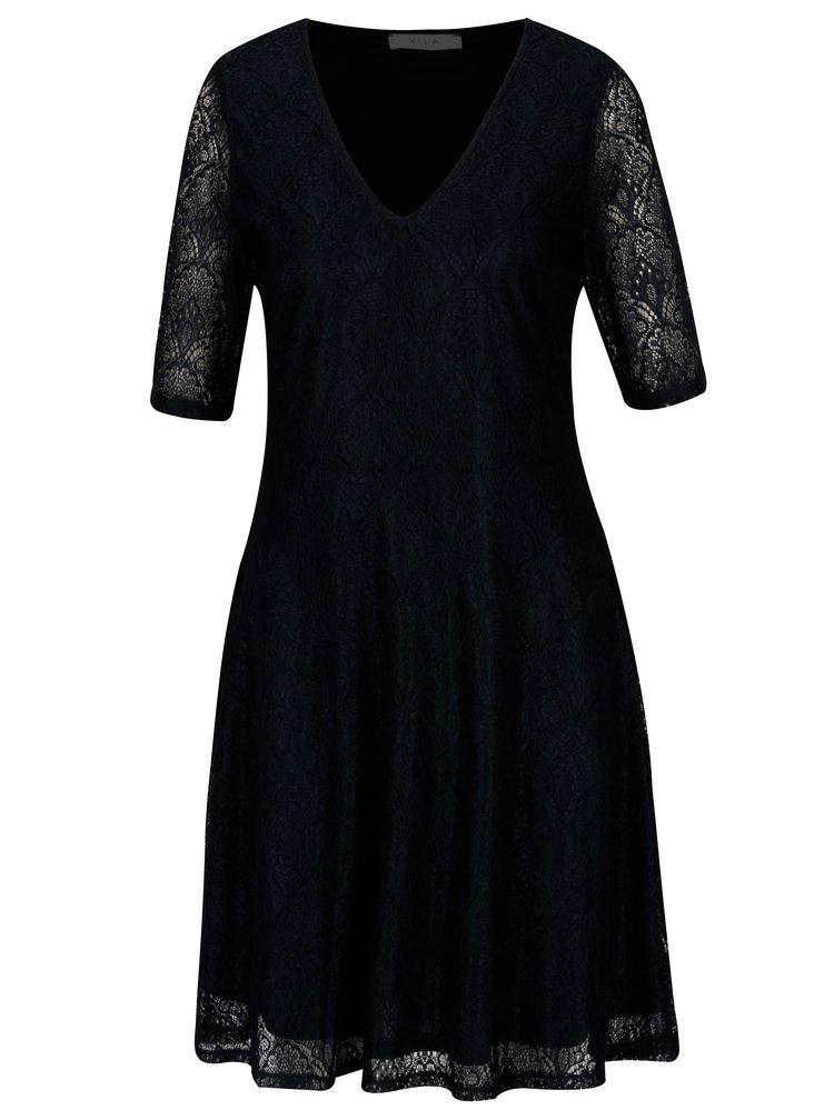 Tmavě modré krajkové šaty VILA Frej