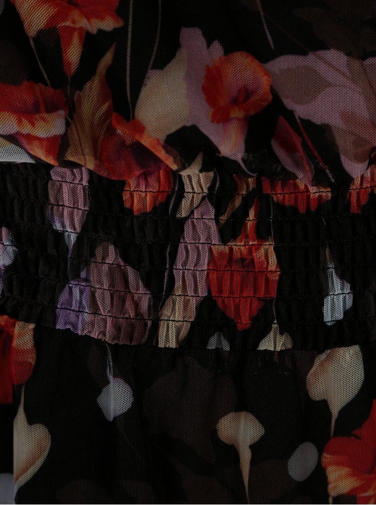 Černé květované šaty s dlouhým rukávem VILA Roba