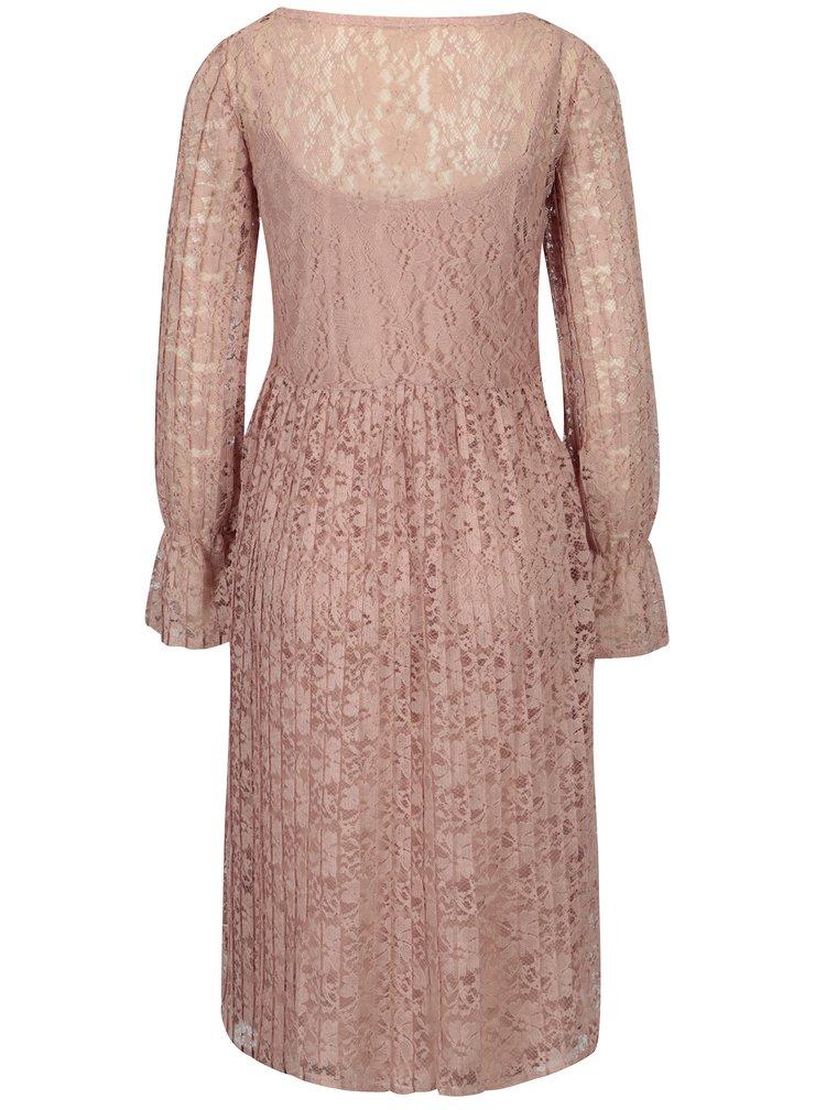 Starorůžové krajkové šaty 2v1 VILA Jaclyn