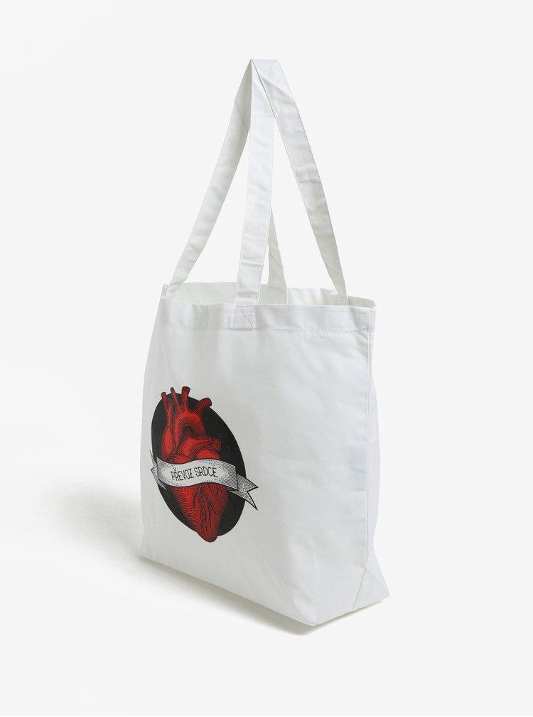 Bílá plátěná taška ZOOT Originál Převoz srdce