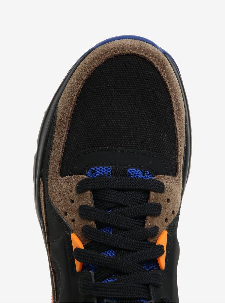 Hnědo-černé pánské kožené tenisky Camper Drift