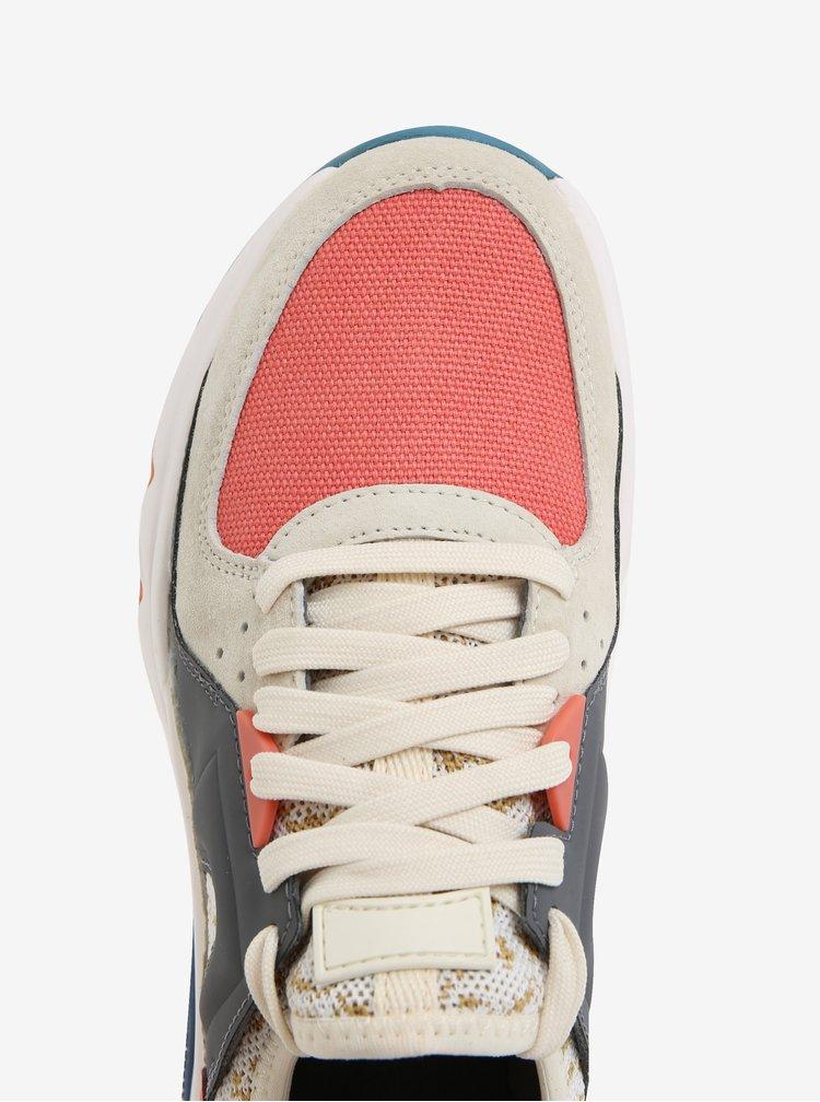 Růžovo-šedé dámské kožené sportovní tenisky Camper Drift