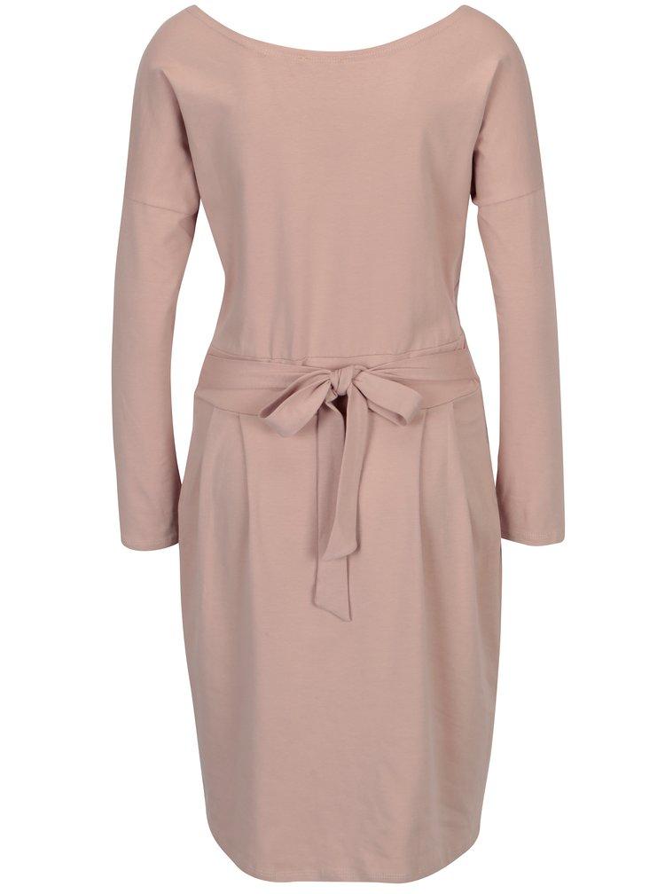 Světle růžové pouzdrové šaty s kapsami a dlouhým rukávem ZOOT