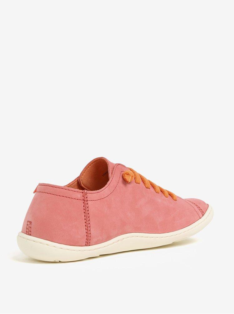 Růžové dámské kožené tenisky Camper Peu
