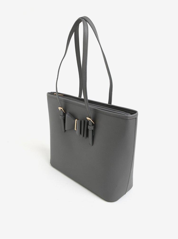 Šedá kabelka s mašlí a detaily ve zlaté barvě LYDC