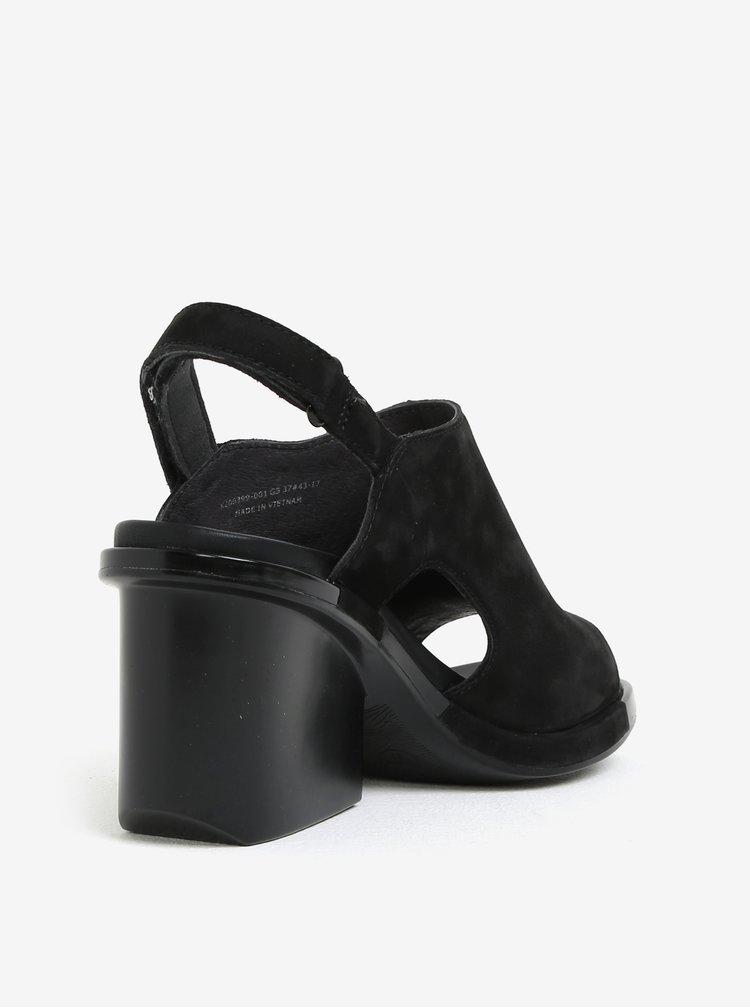 Černé semišové sandálky na podpatku Camper Ivy