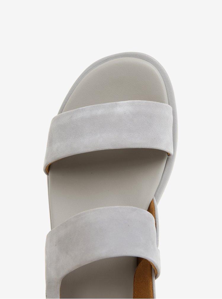 Sivé dámske kožené sandále Camper Edy