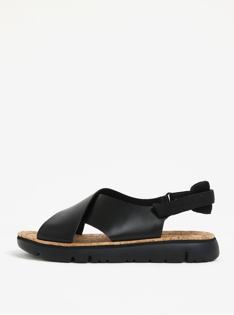 Černé dámské kožené sandály Camper