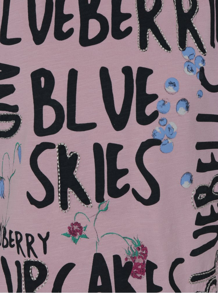 Světle fialové holčičí tričko s průstřihy na ramenou name it Hlower
