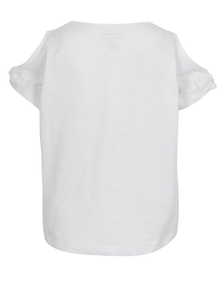 Krémové holčičí tričko s průstřihy na ramenou name it Hlower