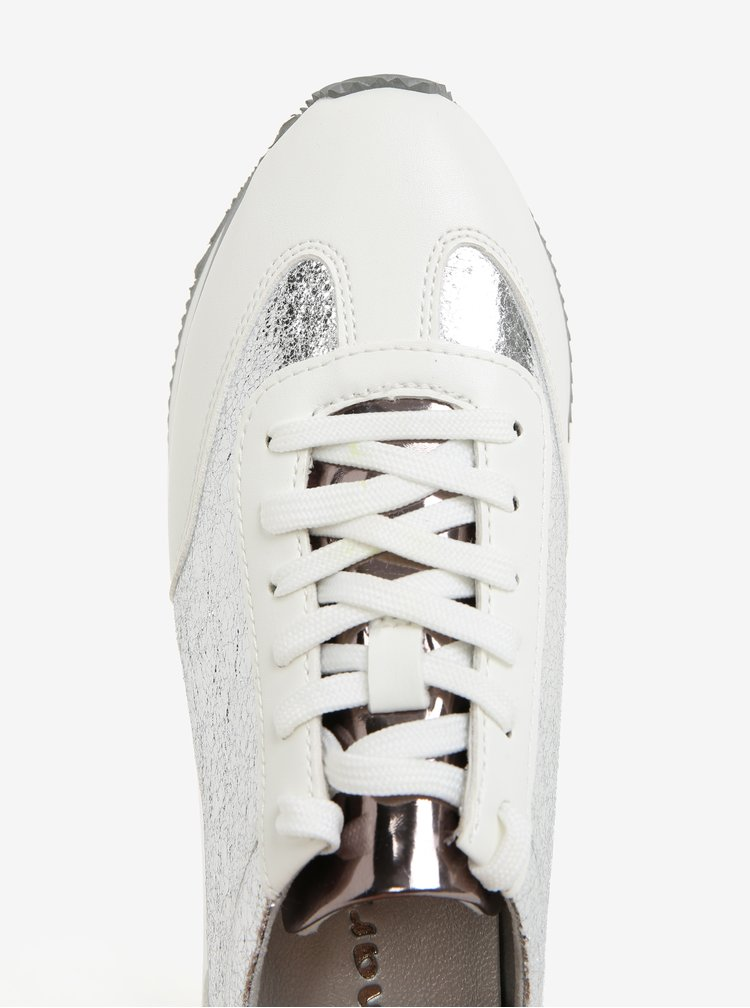 Tenisky ve stříbrné barvě na platformě Tamaris